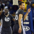 The Golden State Warriors' Stephen Curry (30) reacts after a 3-point basket, tying his father's Dale Curry's 3-pointer mark, against the Brooklyn Nets in the first half at Oracle Arena in Oakland, Calif., on Saturday, Nov. 14, 2015. (Ray Chavez/Bay Area News Group/TNS)