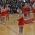 Junior Abby Carpenter helps lead a cheer for the varsity cheerleaders.