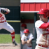 Adam throws an out to first (left) and Luke waits for a pitch (right) vs Eureka at home March 26.