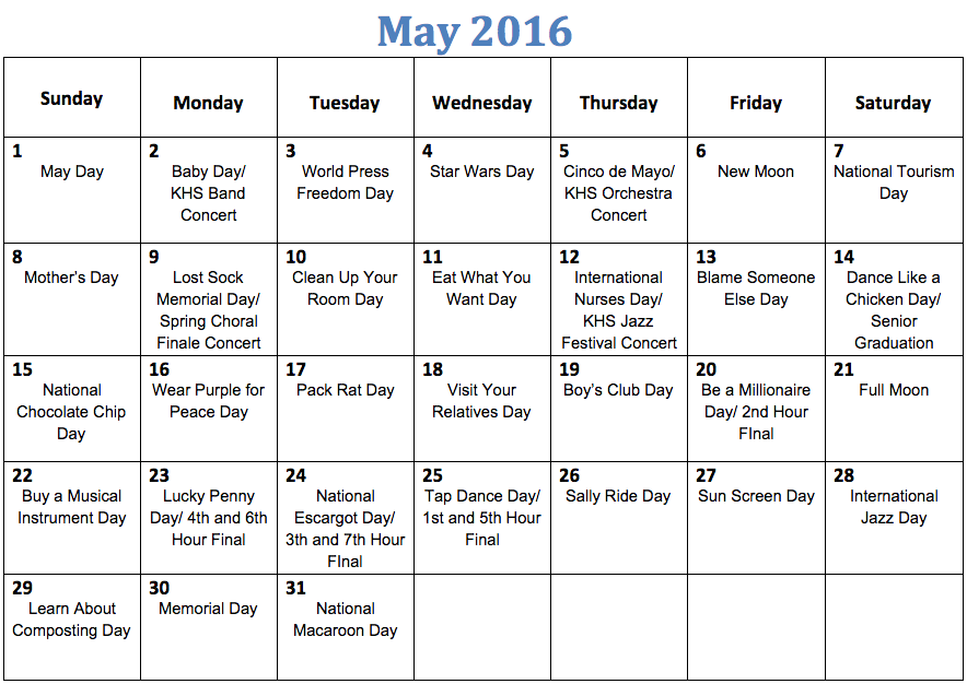The Kirkwood Call : Fun national holiday calendar: May
