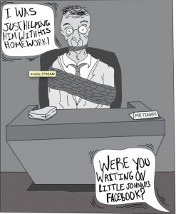 Editorial Cartoon: Teachers on Facebook