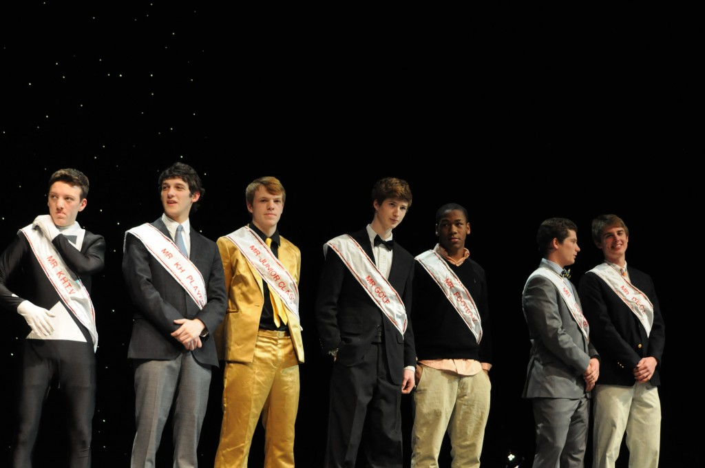 Mr. KHS contestants line up for the first round of eliminations.