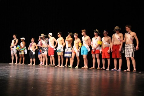 Contestants line up on the stage, displaying their swimsuit attire.