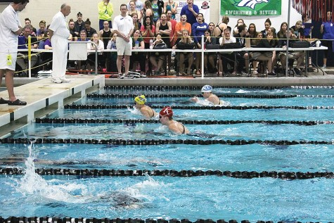 Maddie Pearl, sophomore, swam the fifth lap of the 200 IM breaststroke.