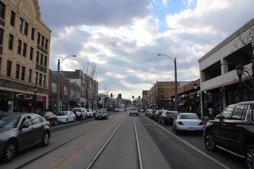 The streets of the Delmar Loop are currently in construction for building the new trolley.