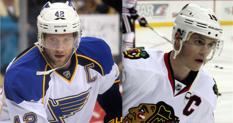 David Backes (left) and Jonathan Toews' (right) teams face off in one of the most anticipated matchups of the first round of the 2016 Stanley Cup Playoffs.