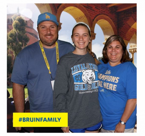 """Claire Hubert, center and 2015 alumnus and sophomore at University of California-Los Angeles, gets her picture taken with her parents Tony and Melanie Hubert on parents weekend. Claire was always competitive in high school, so she thought it natural for her to apply to the most competitive of colleges. """"UCLA was my dream since I was eleven and I wasn't sure if I would get in, so I was looking at other schools that were the same academic caliber,"""" Hubert said. """" I knew I wanted to go somewhere academically challenging and I think I got caught up in admissions rates and the competitiveness of schools."""""""