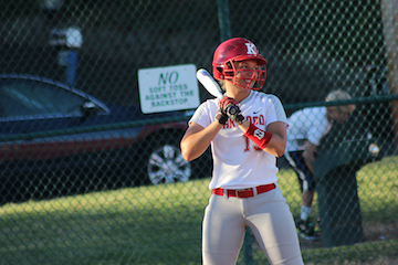 Sadie Wise, senior, ready to swing up at bat.