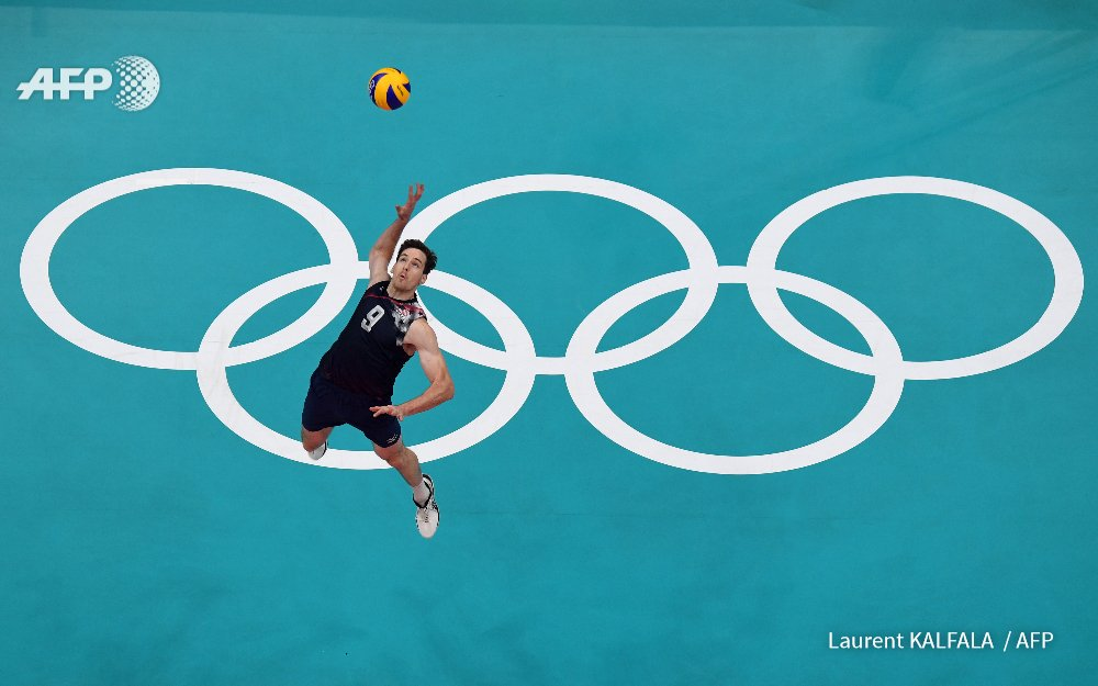 Murphy Troy makes a serve playing for the U.S. in Rio in Aug. 2016.