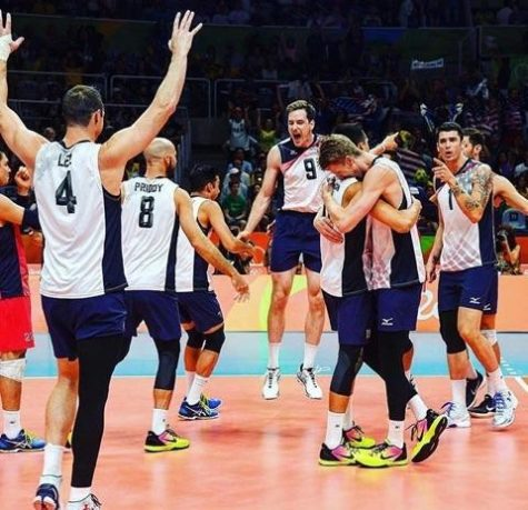 Troy and teammates celebrate a match win in Rio