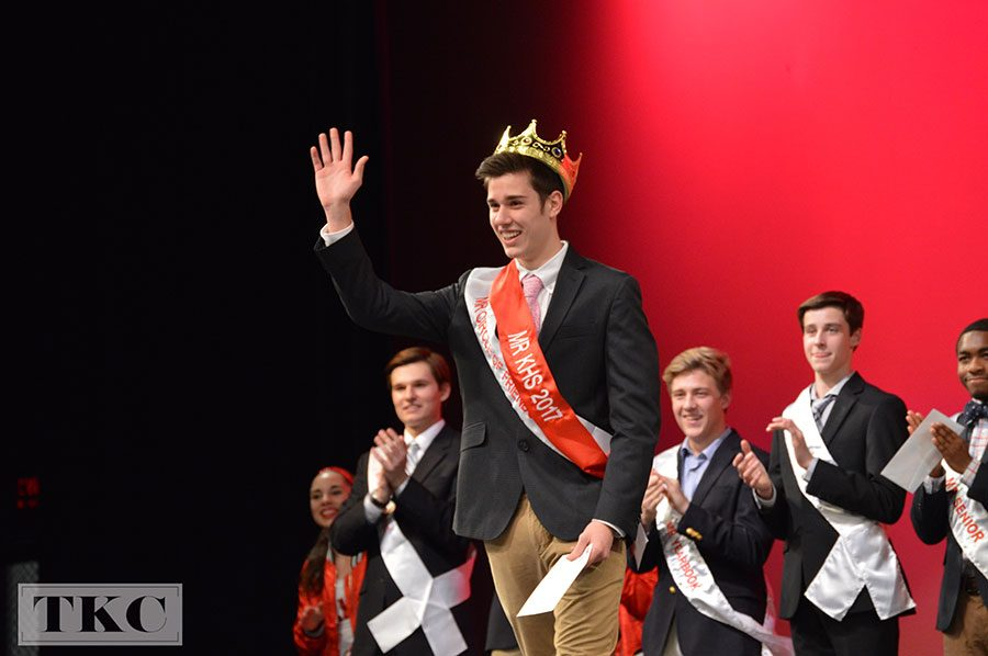 Dylan Funk, senior and Mr. Circle of Friends, accepts his crowning for 2017's Mr. KHS.