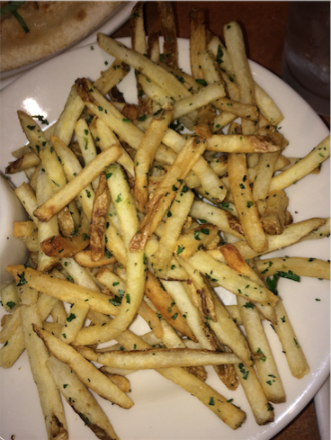 Price: $4.95 (regular size) Type: Shoestring (skinny) Thickness: Thin, 9/10 Amount of Salt: 9/10 Crispness: 9/10 Sauce: 5/10 Overall: 9/10  I'd for sure visit Nordstrom Cafe Bistro just to taste their fries. Even though they're expensive, they're worth it because you get a lot of fries. They're always perfectly crispy and salted. With the bit of parsley added to the fries they taste different and better than other fries. I don't really like the Kalamata Olive Aioli dip they serve with the fries, but anyone who likes black olives will love it.