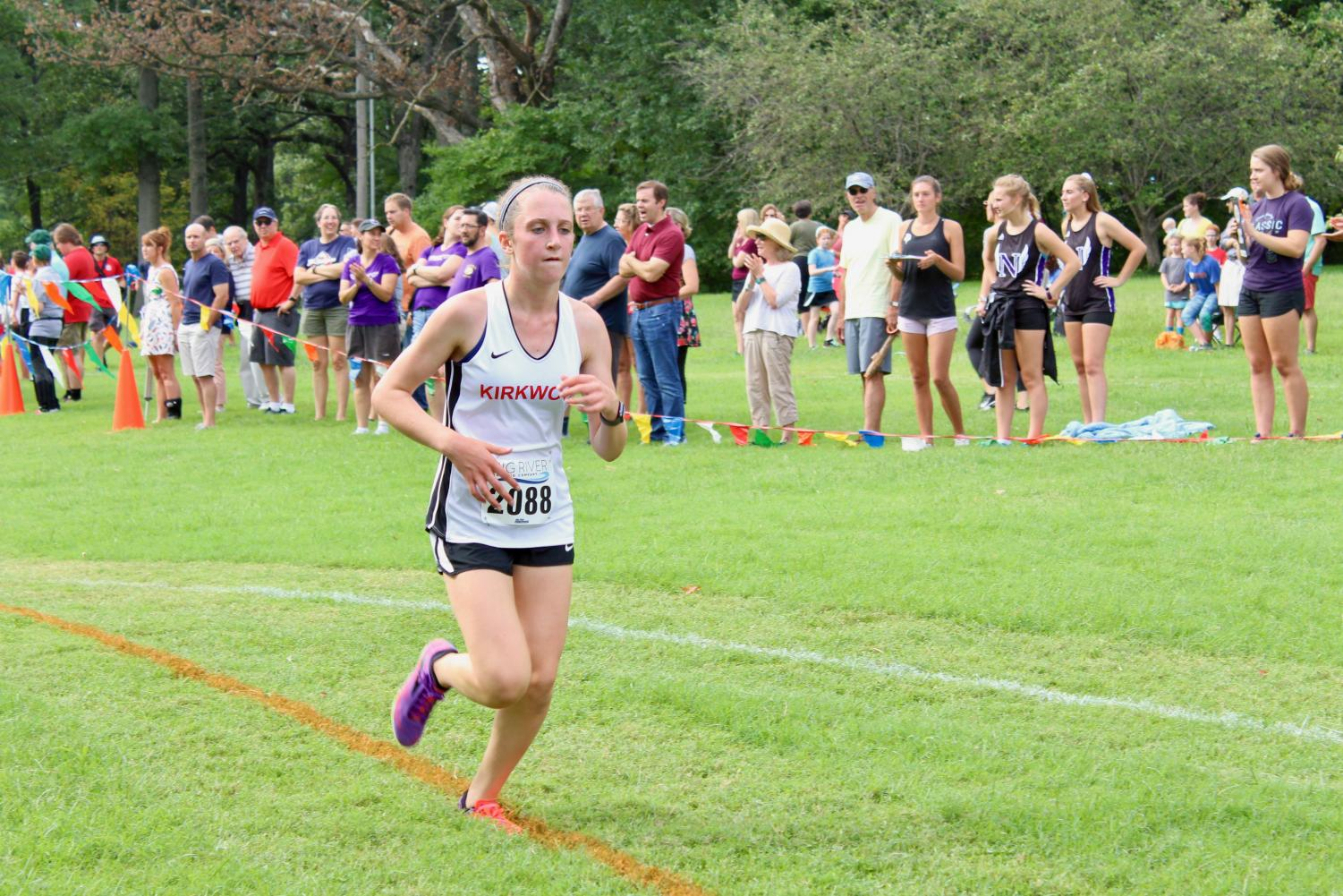 Maggie+Klein%2C+freshman%2C+finishes+first+for+Kirkwood+with+a+time+of+12%3A45+for+her+3k.