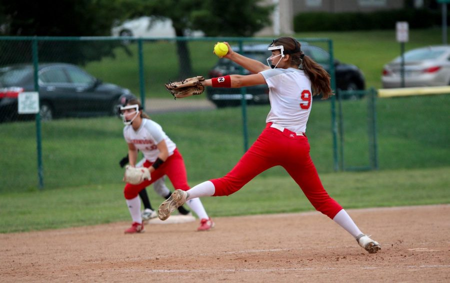 Elsa Church, junior, pitches in the 5th inning.