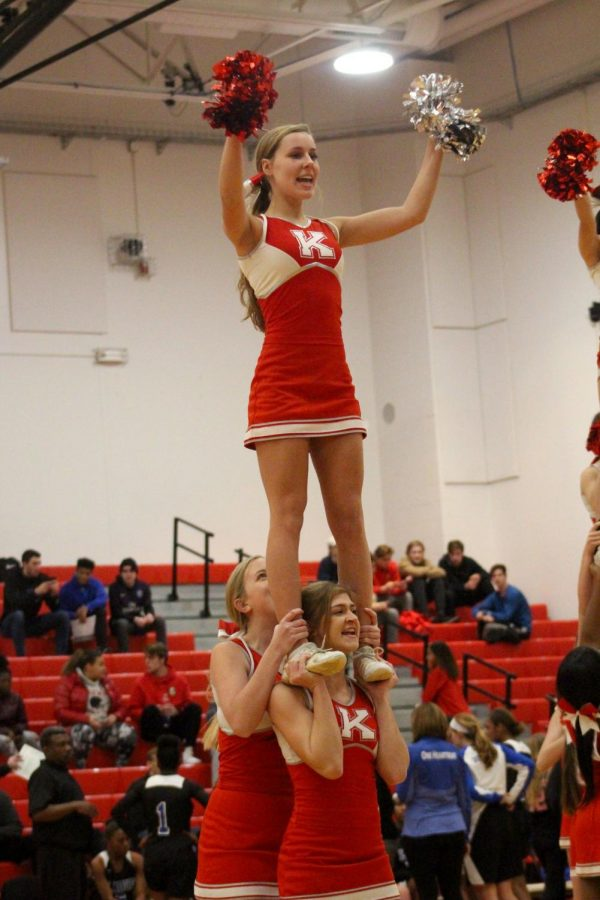 """Taylor Shoemaker, junior. """"It's a bittersweet moment,"""" Abbey Painter, varsity cheerleader, said. """"While there are some games left, much of the cheer season is wrapping up. It's the seniors' last season and we still have some games left, but it will soon be over."""""""