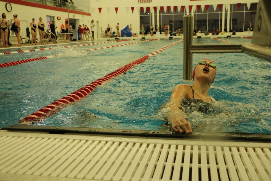 """Poppy Rost, senior. """"A lot of our valued seniors left us last year,"""" Julie Obertop, varsity swimmer, said. """"We have a lot to work up to considering the amount of talent that left us this year, but we are really excited for what is coming this season and the team is ready for it."""""""