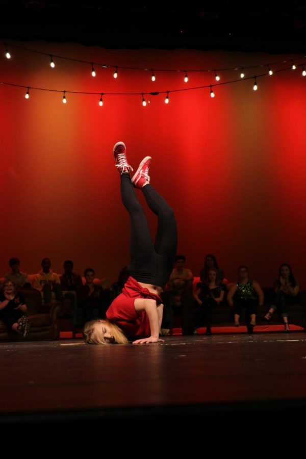 Bridget Killian, senior, breakdances to HUMBLE. by Kendrick Lamar.