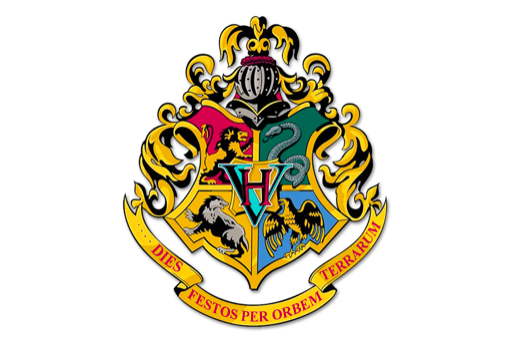 Hogwarts crest with four houses: Gryffindor, Slytherin, Hufflepuff and Ravenclaw.