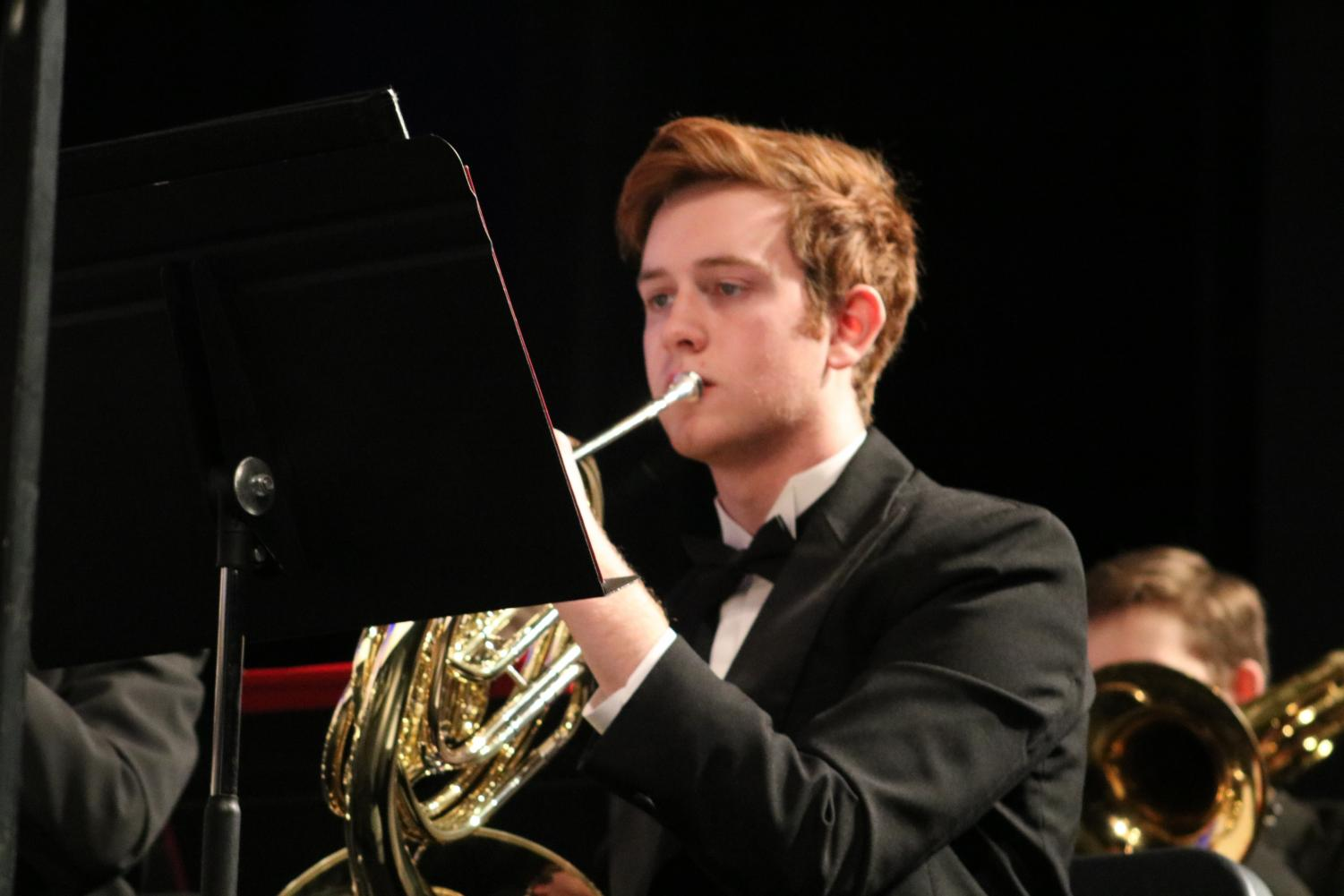 Leo+Barton%2C+sophomore%2C+plays+his+french+horn.