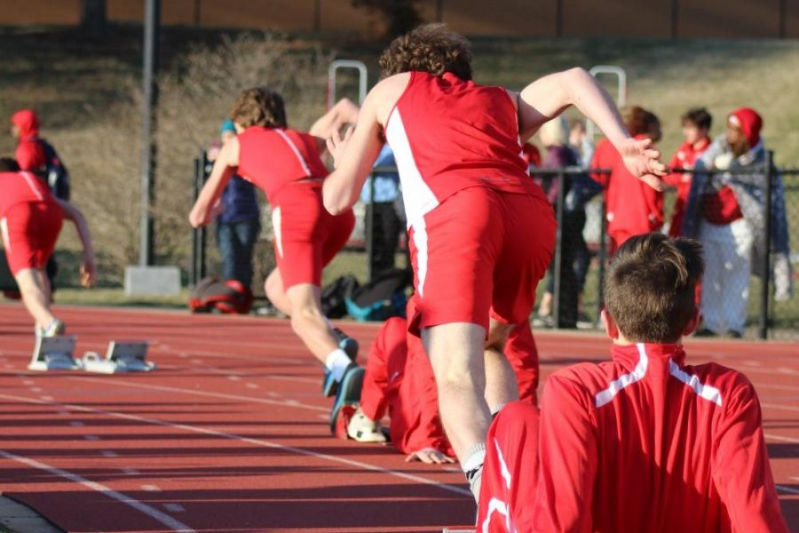 At the fire of a gun, athletes on the KHS boys track team begin one of the meets many races.