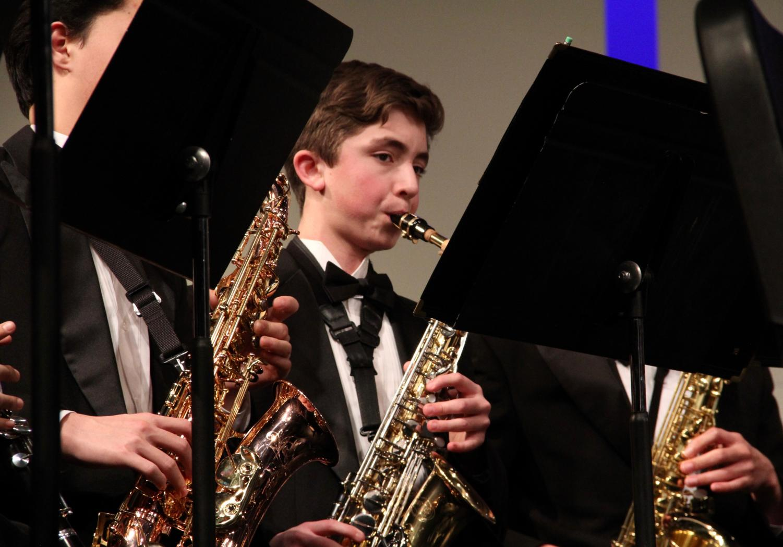 Will+Montgomery%2C+sophomore%2C+plays+his+saxophone.