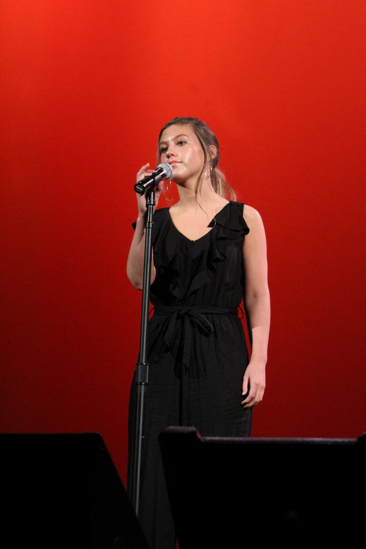 Rachel+Lees%2C+senior%2C+sings+a+solo+during+one+of+her+last+choir+concerts.+