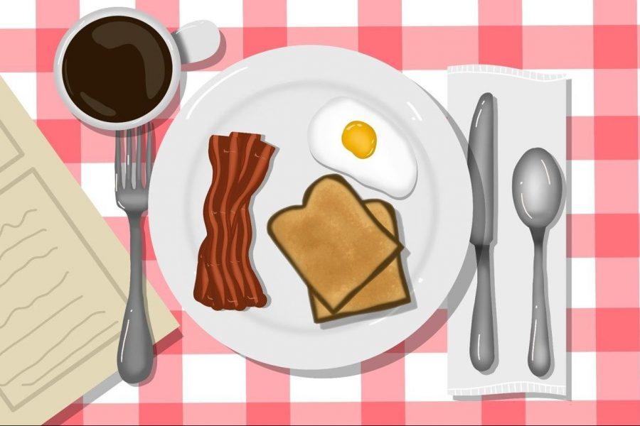 Art of breakfast food sitting on a table by Celia Bergman.