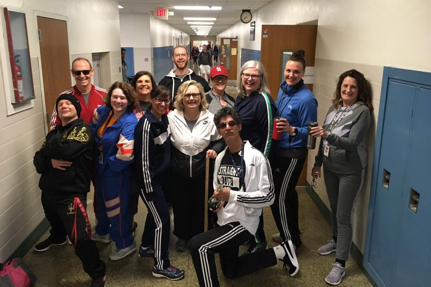 The English Department poses in their tracksuit gear before the school day starts.