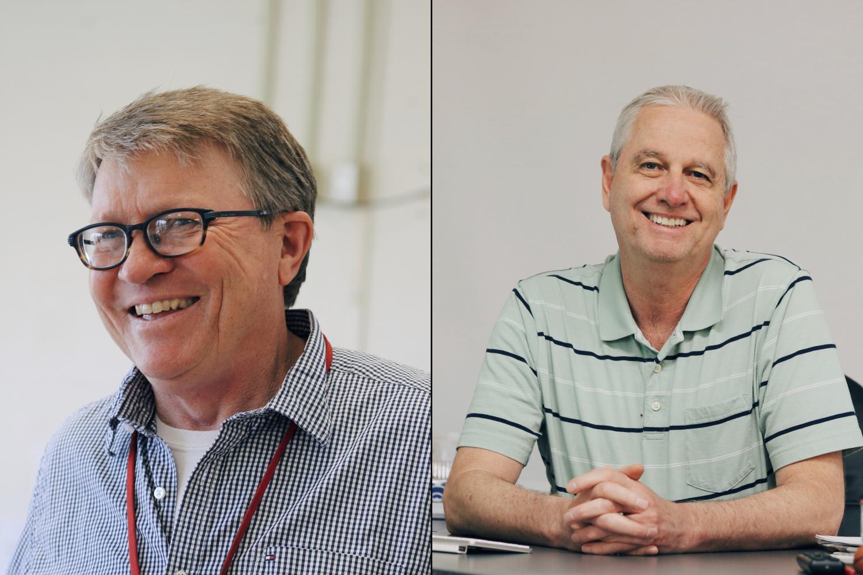 KHS' retiring teachers, Tim Harig (left) and Ron Sanford (right)