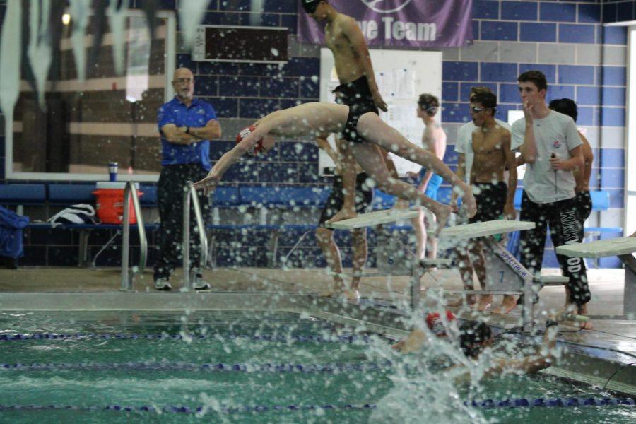 Kirkwood Swimmer dives to catch his team up in a relay race.