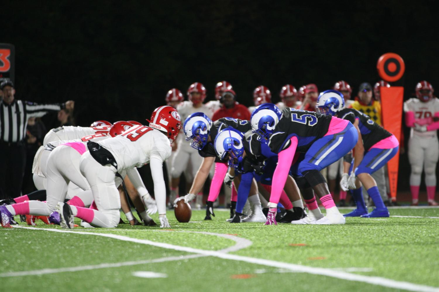The Kirkwood defense squares off against the Ladue offensive line.