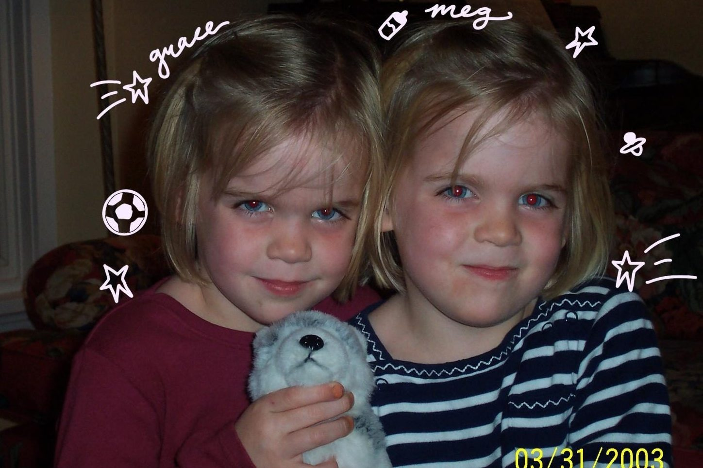 My identical twin, Grace and I, when we were 3 years old.