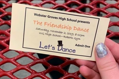 KHS student holds a purchased ticket for the Friendship Dance.