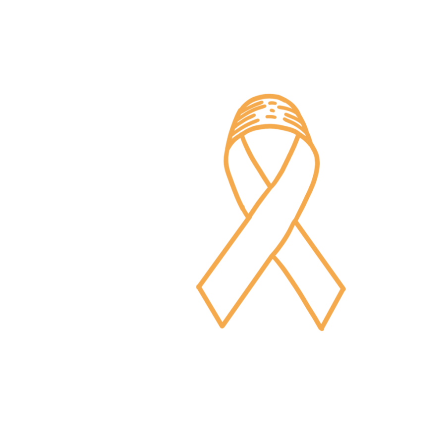 An art work of the ribbon representing childrens cancer, which is gold.
