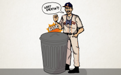 Astros' manager A.J. Hinch shown banging on a trash can to depict the Astros' sign stealing scandal.