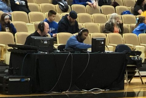 Bill Gunn and his partner broadcast a high school basketball game for ESPN3.