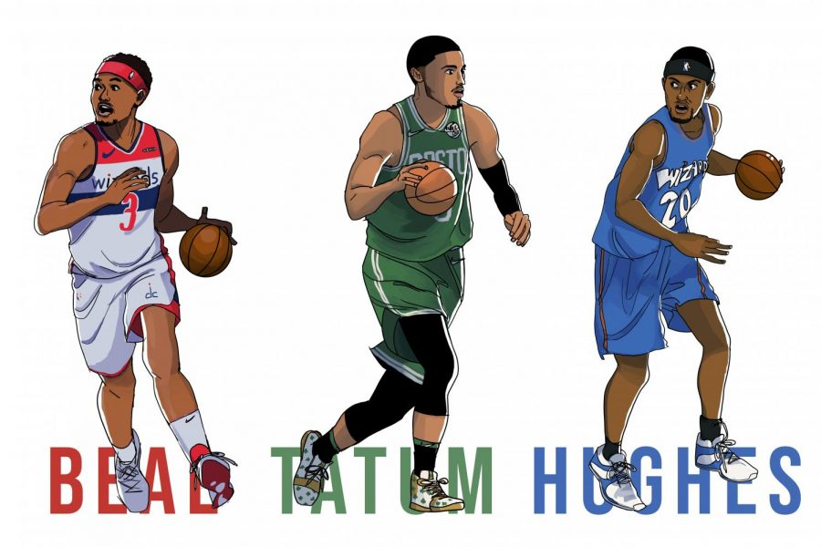 With a combined 25 years of NBA experience (and counting) between the three of them, Bradley Beal, Jayson Tatum and Larry Hughes have lived most of their professional lives under the scope of national attention. Art by Merry Schlarman.