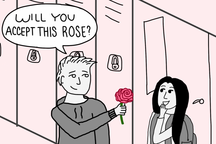 This cartoon depicts what would happen if a student turned this reality TV show into reality, asking several girls if they'll accept a rose.