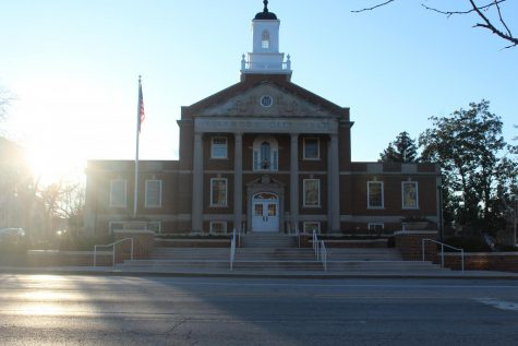 City Hall, located in the middle of Downtown Kirkwood, is illuminated by the afternoon sun.