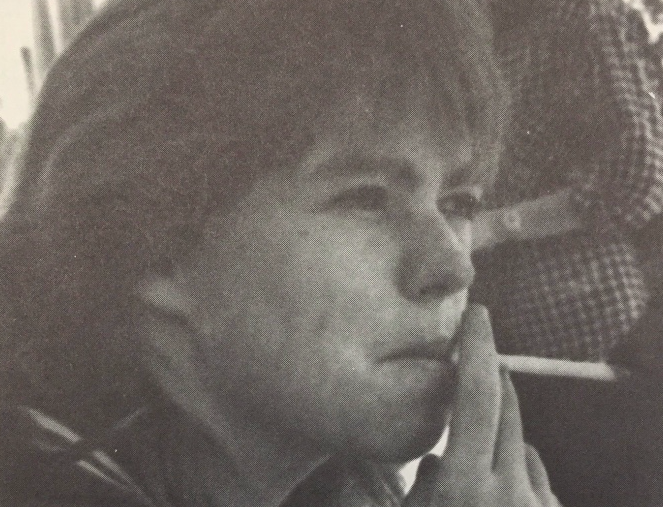 KHS student sits in the KHS smoking courtyard in 1986.