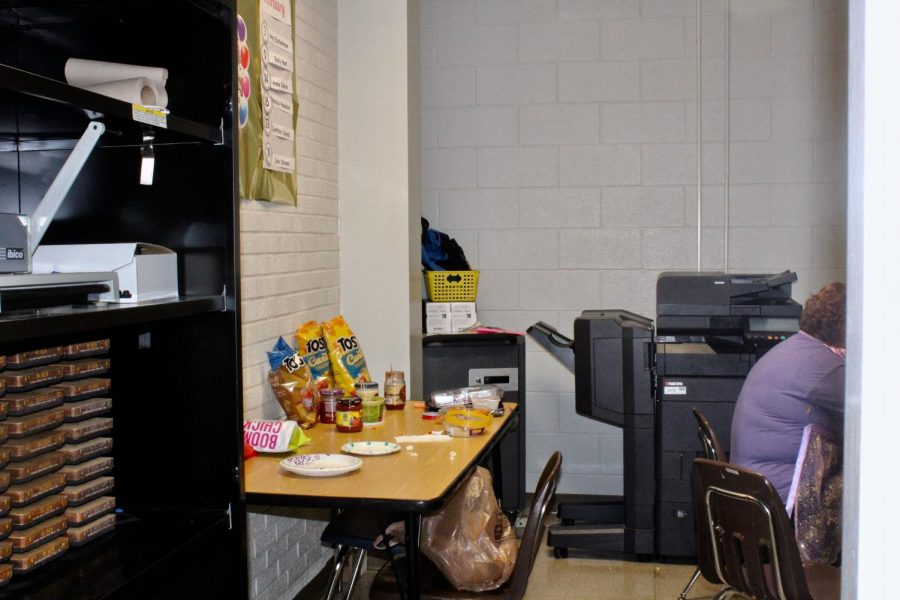 A makeshift lounge created for teacher's assistants at Westchester Elementary. 11 teacher's assistants share this room throughout the day, according to Ricker.