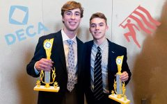 Seniors Zach Millenbruck and Aidan McGee took home first place in the integrated marketing category of the 2020 regional DECA competition. Photo Courtesy of Zach Millenbruck and Aidan McGee. Art by Emma Frizzell.