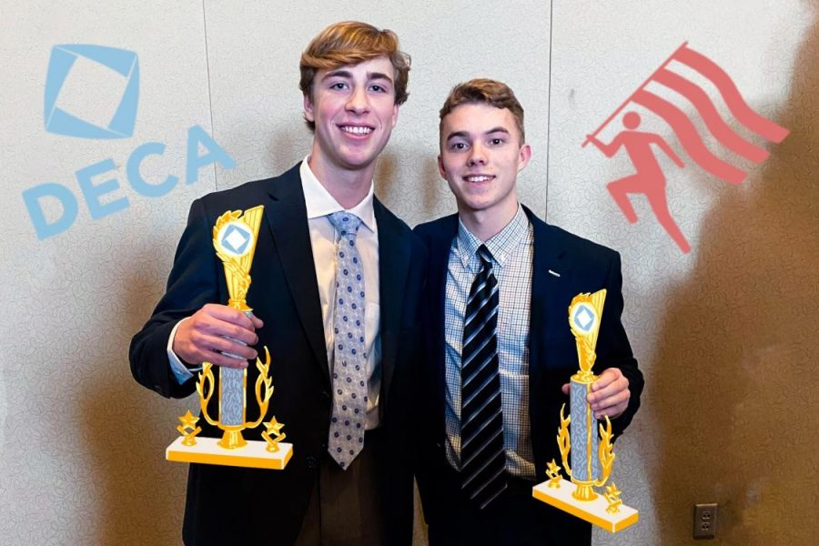 Seniors+Zach+Millenbruck+and+Aidan+McGee+took+home+first+place+in+the+integrated+marketing+category+of+the+2020+regional+DECA+competition.+Photo+Courtesy+of+Zach+Millenbruck+and+Aidan+McGee.+Art+by+Emma+Frizzell.+