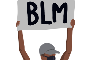 Art depicts a BLM protester holding a sign, as many did when people flooded the streets calling for action this summer.