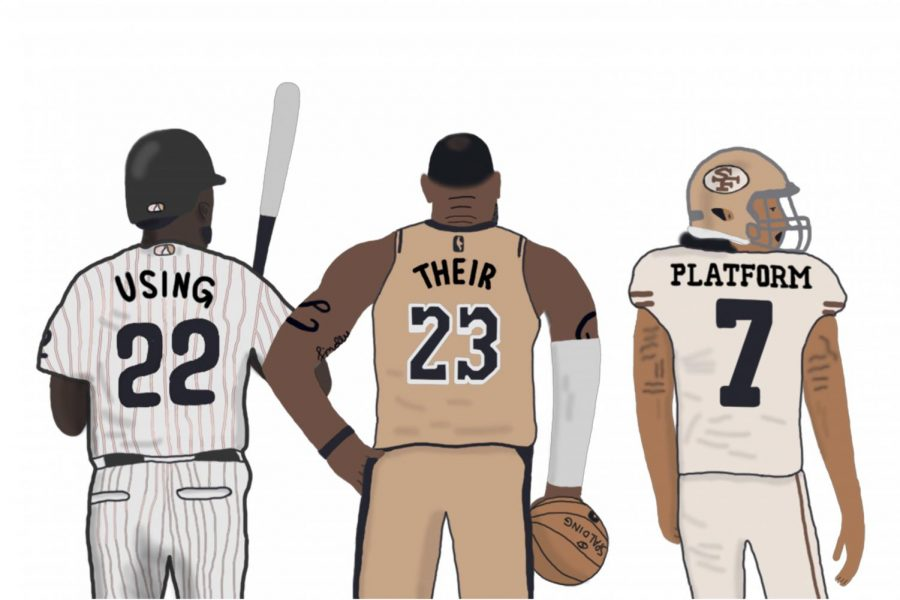Andrew+McCutchen%2C+LeBron+James+and+Colin+Kaepernick+are+leading+figures+of+the+Black+Lives+Matter+movement+within+their+respective+sports.+Art+by+Hayden+Davidson.
