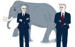 Republicans are turning against Trump. Art by Laurel Seidensticker