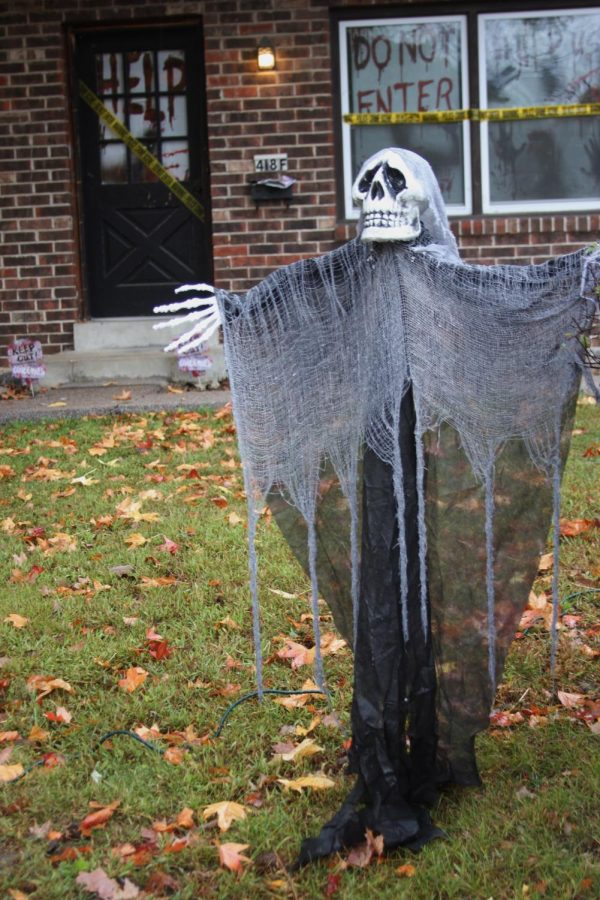 Decorations fill the yards of Kirkwood houses in preparation for Halloween.