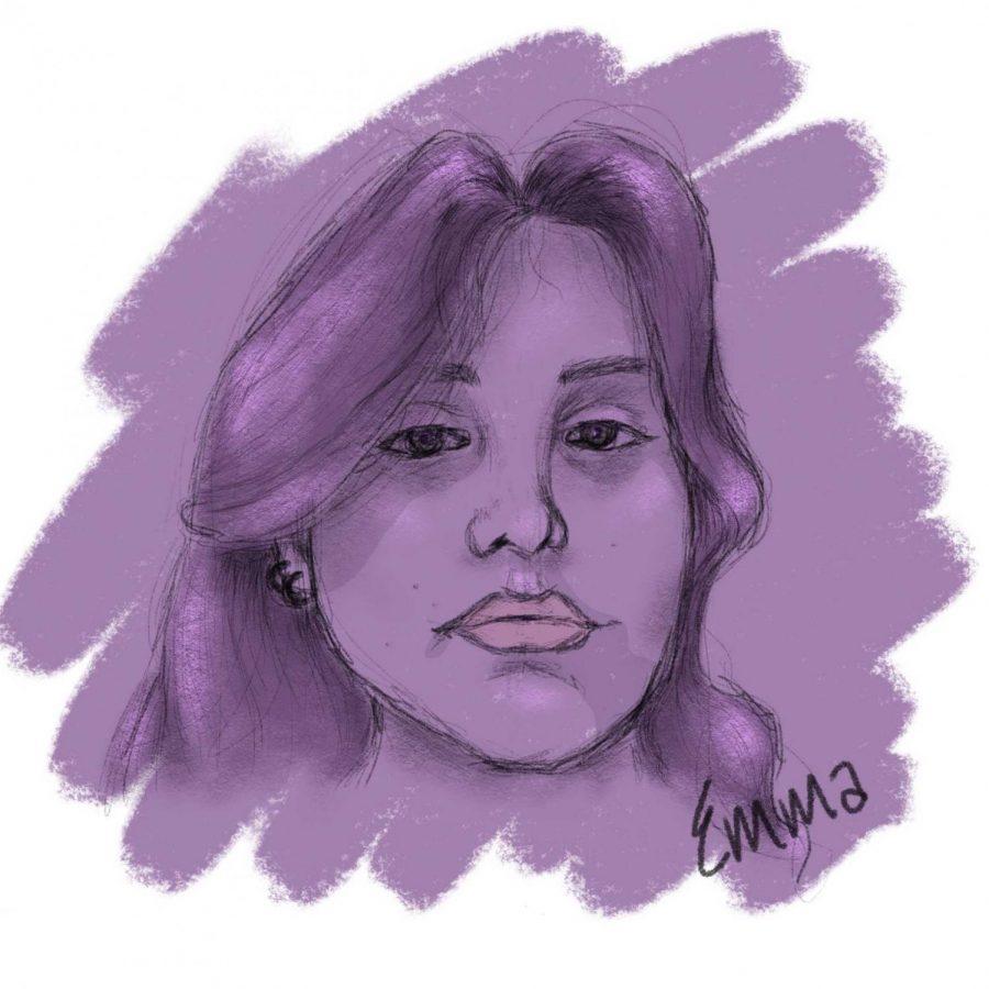 Emma Frizzells, artist, self-portrait.
