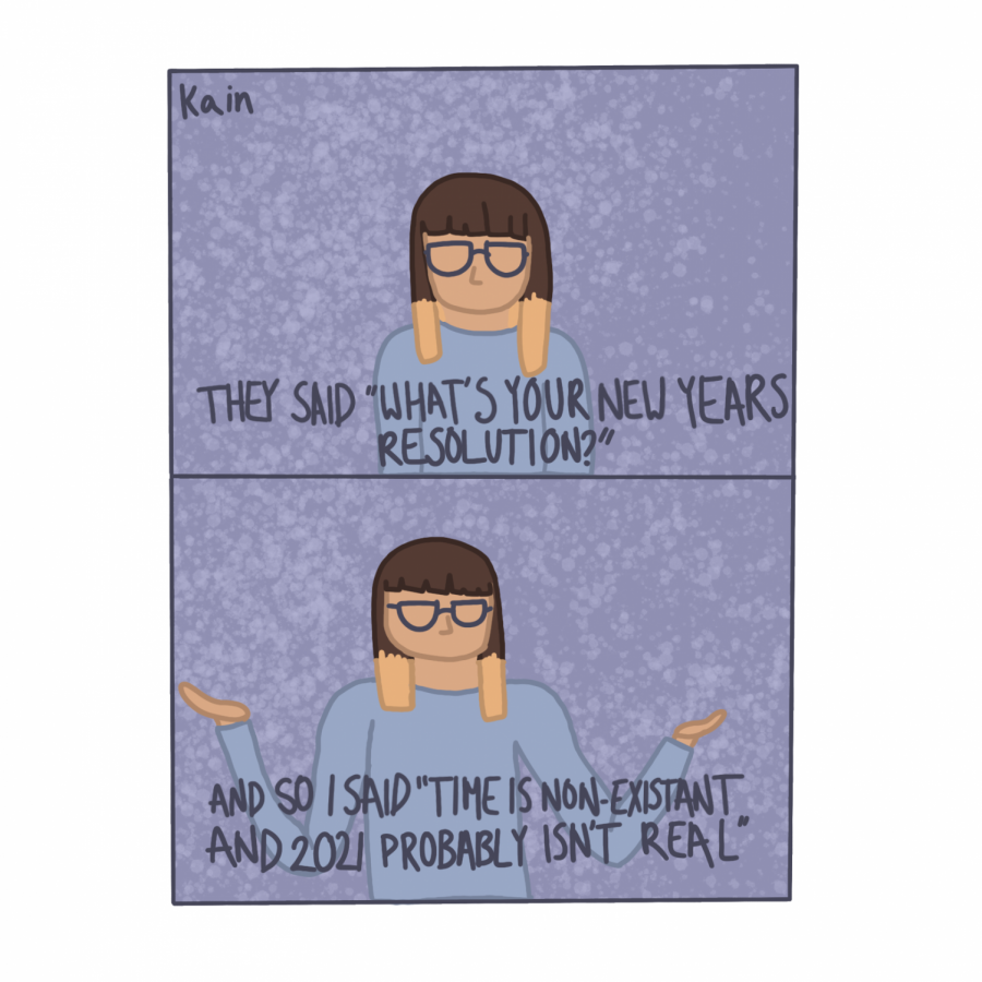 Kain Stobbe, artist, depicts their take on resolutions for 2021.