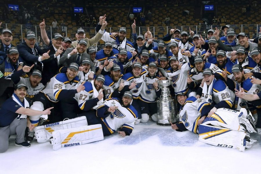 The Blues celebrate their first Stanley Cup win in franchise history.